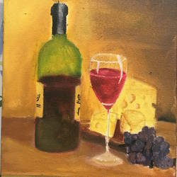 wine and cheese, 8 x 10 inch, harshit mall,still life paintings,paintings for dining room,canvas,oil paint,8x10inch,GAL021915921