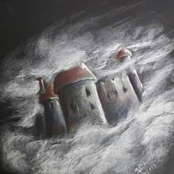 castle in the air, 6 x 8 inch, vineetha  j.malayil ,figurative drawings,paintings for bedroom,paper,pencil color,6x8inch,GAL020175928