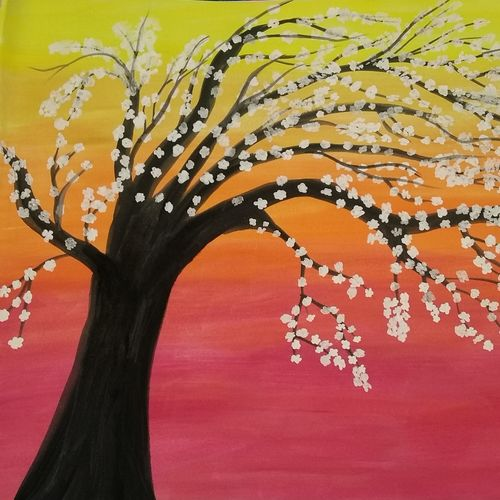 blooming tree, 13 x 11 inch, kiran singh,nature paintings,paintings for living room,thick paper,watercolor,13x11inch,GAL022045929Nature,environment,Beauty,scenery,greenery,trees