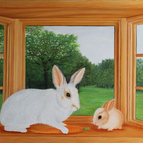 rabbit and bunny on window, 36 x 24 inch, goutami mishra,landscape paintings,paintings for living room,canvas,oil,36x24inch,GAL04655930