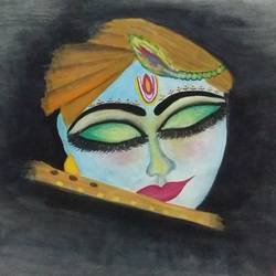 shree krishna's, 13 x 11 inch, kiran singh,religious paintings,paintings for living room,radha krishna paintings,thick paper,watercolor,13x11inch,GAL022045933,krishna,love,lordkrishna,peace,flute,music