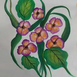 beautiful pansy flowers , 11 x 13 inch, kiran singh,flower paintings,thick paper,watercolor,11x13inch,GAL022045934