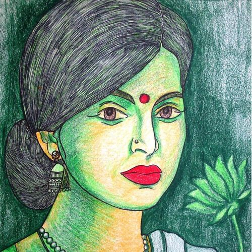beautiful woman, 8 x 12 inch, sumona kundu,figurative paintings,paintings for living room,drawing paper,pencil color,8x12inch,GAL021905937