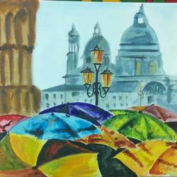tourist, 12 x 12 inch, shravany prasad,street art,paintings for bedroom,cityscape paintings,modern art paintings,canvas,acrylic color,12x12inch,GAL022085943