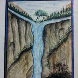 the woman of hill stream, 11 x 16 inch, subhankar mondal,conceptual paintings,paintings for living room,handmade paper,watercolor,11x16inch,GAL021505948