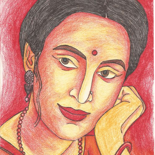 beautiful woman, 8 x 12 inch, sumona kundu,paintings for living room,figurative paintings,drawing paper,pencil color,8x12inch,GAL021905953
