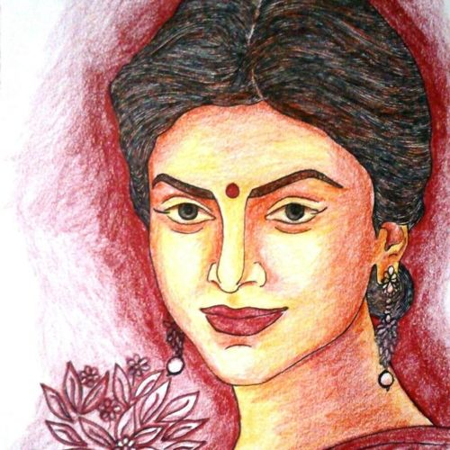 beautiful woman, 7 x 12 inch, sumona kundu,figurative paintings,paintings for living room,drawing paper,pencil color,7x12inch,GAL021905954