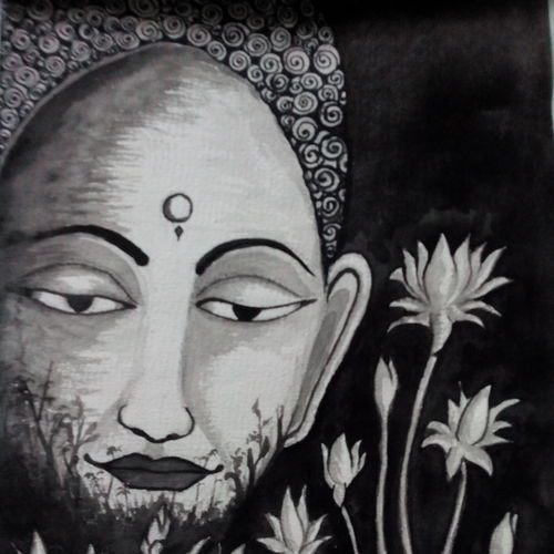 buddha, 11 x 16 inch, subhankar mondal,buddha paintings,paintings for living room,thick paper,watercolor,11x16inch,GAL021505961