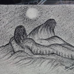 illusion of hill - sun rise, 5 x 8 inch, subhankar mondal,abstract expressionist drawings,paintings for bedroom,handmade paper,charcoal,5x8inch,GAL021505969