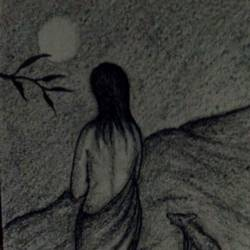 the woman of hill, 5 x 8 inch, subhankar mondal,figurative drawings,paintings for bedroom,handmade paper,charcoal,5x8inch,GAL021505971