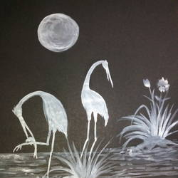 the hunting crane, 11 x 16 inch, subhankar mondal,wildlife paintings,paintings for living room,thick paper,watercolor,11x16inch,GAL021505974