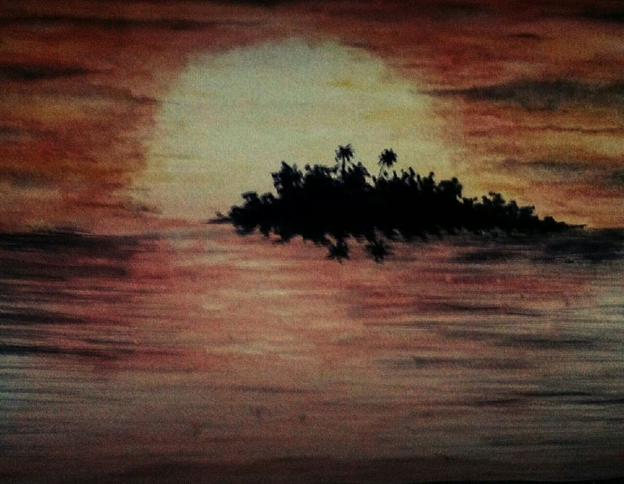 beauty of sun set, 16 x 11 inch, subhankar mondal,landscape paintings,paintings for living room,thick paper,watercolor,16x11inch,GAL021505975