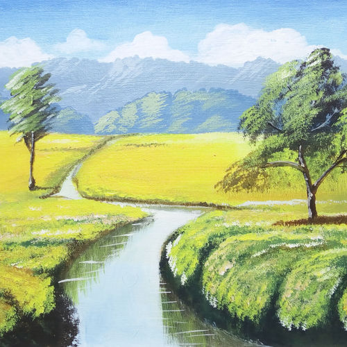 meadows, 16 x 12 inch, pradeesh ayyappan,landscape paintings,paintings for living room,canvas,acrylic color,16x12inch,GAL022105978
