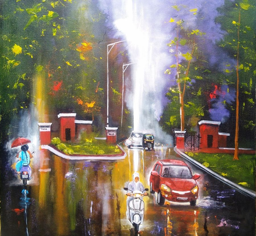 rainy day # 6, 30 x 30 inch, arjun das,figurative paintings,paintings for bedroom,canvas,acrylic color,30x30inch,GAL01125979