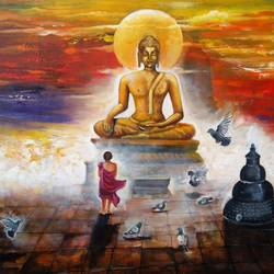 buddha and monk child 7, 60 x 33 inch, arjun das,buddha paintings,paintings for living room,canvas,acrylic color,60x33inch,religious,peace,meditation,meditating,gautam,goutam,buddha,lord,monk,giving blessing,temple,buddhist,sun,GAL01125980