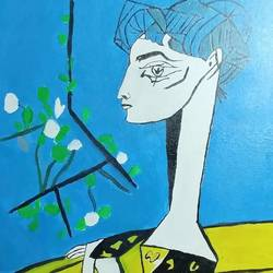 picasso jacqueline with flowers, 10 x 15 inch, shahrukh shaiekh,cubist paintings,paintings for living room,canvas,oil paint,10x15inch,GAL022155983