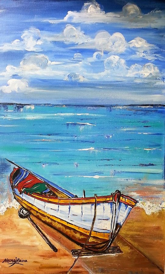 lazy boat by the sea, 24 x 36 inch, neeraj raina,realistic paintings,paintings for living room,canvas,acrylic color,24x36inch,GAL02735998
