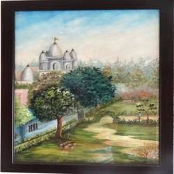 a park near the temple, 23 x 31 inch, anupama sachdeva,landscape paintings,paintings for office,thick paper,oil,23x31inch,GAL0251600