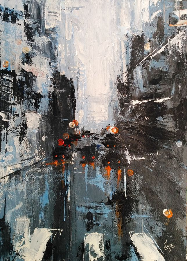 abstract acrylic cityscape, 10 x 14 inch, anirban  kar,cityscape paintings,brustro watercolor paper,acrylic color,10x14inch,GAL015606000