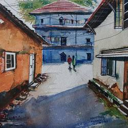 village streets , 14 x 10 inch, mahendra shewale,nature paintings,paintings for living room,handmade paper,watercolor,14x10inch,GAL018726007Nature,environment,Beauty,scenery,greenery