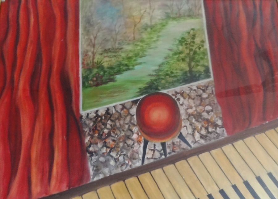 music and nature, 32 x 24 inch, anupama sachdeva,modern art paintings,paintings for living room,thick paper,oil,32x24inch,GAL0251601