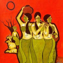 three women, 24 x 36 inch, chetan katigar,figurative paintings,paintings for living room,canvas,mixed media,24x36inch,GAL02666013