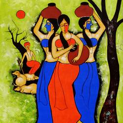three women 2, 24 x 36 inch, chetan katigar,figurative paintings,paintings for living room,canvas,mixed media,24x36inch,GAL02666014