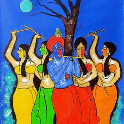 raas leela, 25 x 36 inch, chetan katigar,figurative paintings,paintings for living room,vertical,canvas,mixed media,25x36inch,GAL02666017