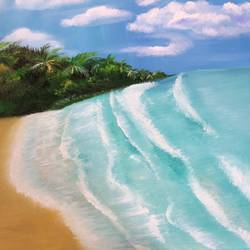beach escape , 32 x 20 inch, amita dand,landscape paintings,paintings for living room,canvas,oil,32x20inch,GAL014676019