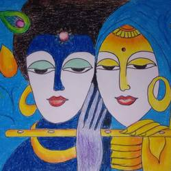 krishna paramathma, 35 x 28 inch, mona lisa,modern art paintings,paintings for living room,radha krishna paintings,thick paper,pastel color,35x28inch,GAL0308602