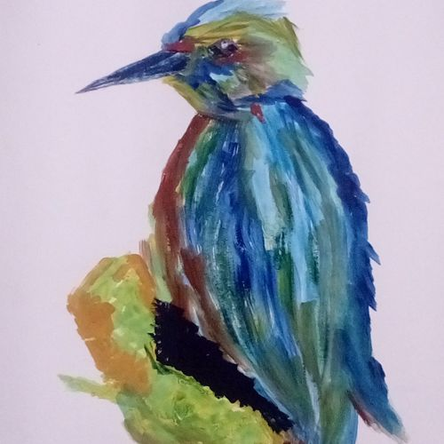 kingfisher, 9 x 11 inch, mrs. kalyani lahon,wildlife paintings,paintings for office,drawing paper,poster color,9x11inch,GAL06576021