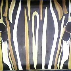 zebra face, 14 x 19 inch, anupam  biswas,animal paintings,paintings for office,paper,oil,14x19inch,GAL022296022