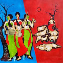 three women 3, 48 x 39 inch, chetan katigar,figurative paintings,paintings for living room,canvas,mixed media,48x39inch,GAL02666035
