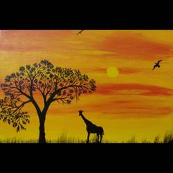 wilderness of africa, 20 x 16 inch, blue  palette,wildlife paintings,paintings for living room,canvas,acrylic color,20x16inch,GAL021296037