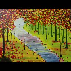 a pathway, 24 x 18 inch, blue  palette,nature paintings,paintings for living room,canvas,acrylic color,24x18inch,GAL021296039Nature,environment,Beauty,scenery,greenery