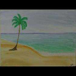 beach, 16 x 12 inch, blue  palette,nature paintings,paintings for bedroom,canvas,acrylic color,16x12inch,GAL021296041Nature,environment,Beauty,scenery,greenery