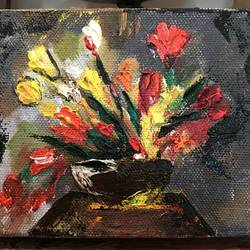 flowers, 5 x 4 inch, rajavi uday sawant,flower paintings,paintings for office,canvas,oil,5x4inch,GAL021486043