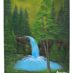 evergreen forest, 12 x 16 inch, akansha  chandolia,landscape paintings,paintings for bedroom,canvas board,oil,12x16inch,GAL021926052