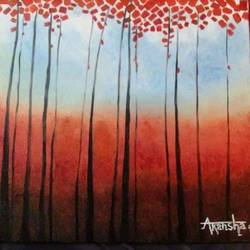 red trees, 10 x 12 inch, akansha  chandolia,abstract paintings,paintings for bedroom,canvas board,oil,10x12inch,GAL021926055