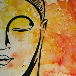 buddhaa, 11 x 8 inch, akansha  chandolia,paintings,buddha paintings,paintings for living room,thick paper,watercolor,11x8inch,religious,peace,meditation,meditating,gautam,goutam,buddha,lord,yellow,side face,GAL021926057