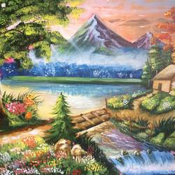 landscape , 24 x 32 inch, monica tripathi ,landscape paintings,paintings for living room,canvas,acrylic color,24x32inch,GAL022476059