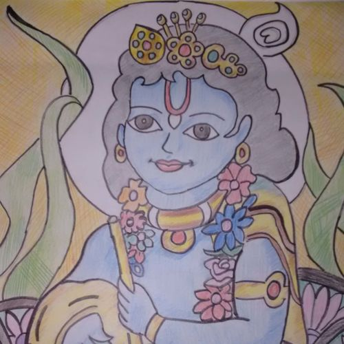 bal krishna, 28 x 35 inch, mona lisa,religious paintings,paintings for office,radha krishna paintings,thick paper,pencil color,28x35inch,GAL0308606
