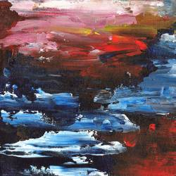 dusk by the sea, 10 x 8 inch, sumona kundu,abstract paintings,paintings for office,canvas,acrylic color,10x8inch,GAL021906062