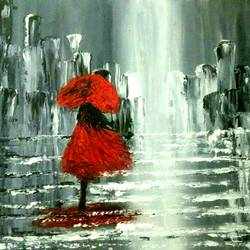 rain scene with red lady & umbrella, 16 x 12 inch, payal  shah,abstract paintings,paintings for bedroom,canvas,oil paint,16x12inch,GAL016136081