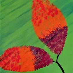 paired leaf, 10 x 14 inch, komal sharma,flower paintings,paintings for office,thick paper,acrylic color,10x14inch,GAL022426083