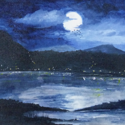 moonlight river view, 12 x 9 inch, nalini darpe tondwalkar,nature paintings,paintings for bedroom,canvas,acrylic color,12x9inch,GAL015046088Nature,environment,Beauty,scenery,greenery