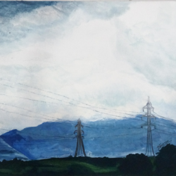 cloudy sky, 12 x 9 inch, nalini darpe tondwalkar,nature paintings,paintings for bedroom,canvas,acrylic color,12x9inch,GAL015046089Nature,environment,Beauty,scenery,greenery