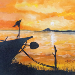 sunset view , 12 x 9 inch, nalini darpe tondwalkar,nature paintings,paintings for dining room,canvas,acrylic color,12x9inch,GAL015046090Nature,environment,Beauty,scenery,greenery