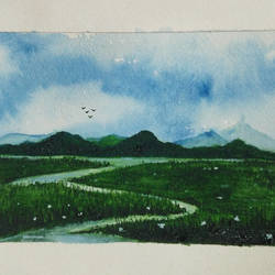 landscape view  by nalini darpe, 11 x 8 inch, nalini darpe tondwalkar,nature paintings,paintings for bedroom,canvas,acrylic color,11x8inch,GAL015046098Nature,environment,Beauty,scenery,greenery