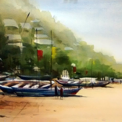 rushukunda beach - vizag, 21 x 15 inch, sankar thakur,nature paintings,paintings for bedroom,fabriano sheet,watercolor,21x15inch,GAL0761Nature,environment,Beauty,scenery,greenery,trees,boat,beautiful,leaves,people